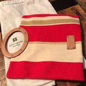 Kate Spade fabric w/leather trim small handbag